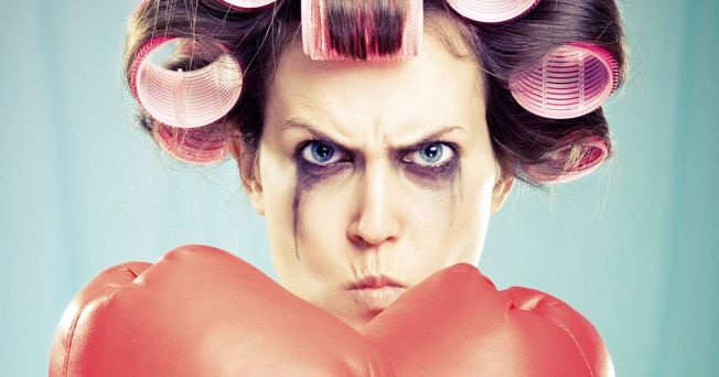 Hormonal-Woman-with-smudged-mascara-and-boxing-gloves